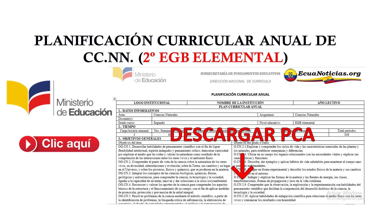 PLANIFICACIÓN CURRICULAR ANUAL DE CC.NN. (2º EGB ELEMENTAL) 4