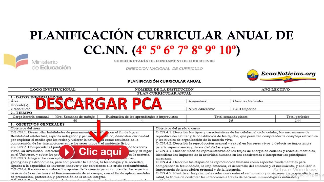 DESCARGA PCA DE CC.NN. 4º 5º 6º 7º 8º 9º 10º 2