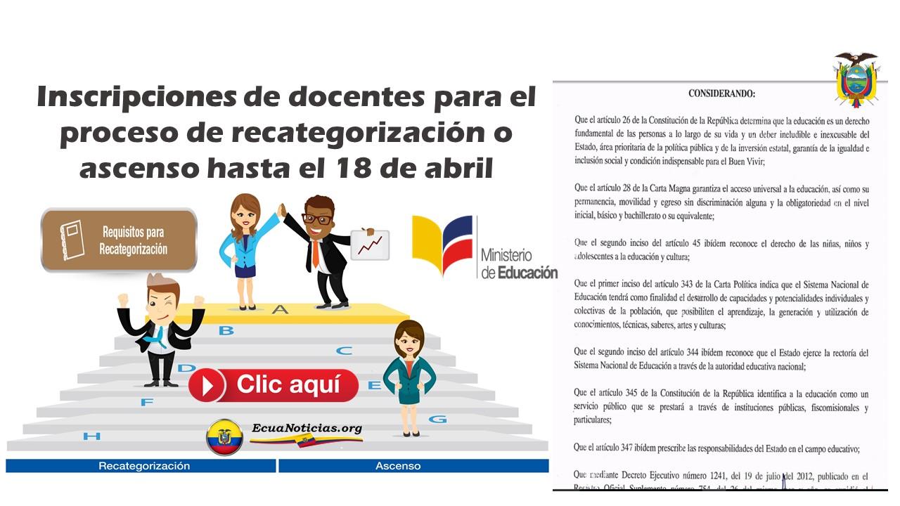 Inscripciones de docentes para el proceso de recategorización o ascenso hasta el 18 de abril