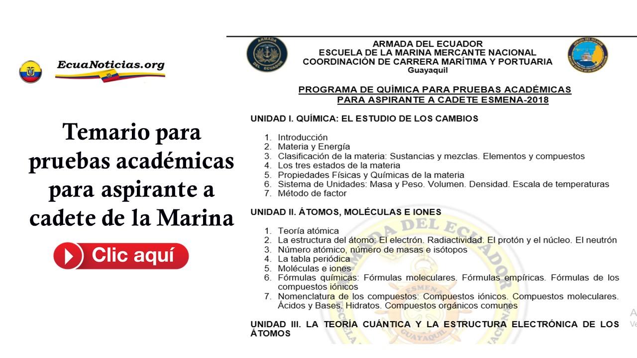 Temario para pruebas académicas para aspirante a cadete de la Marina