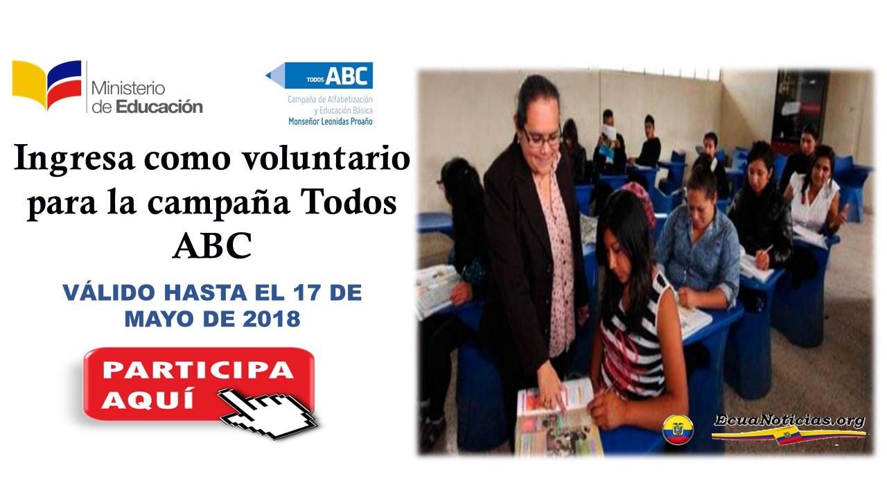 Ingresa como voluntario para la campaña Todos ABC