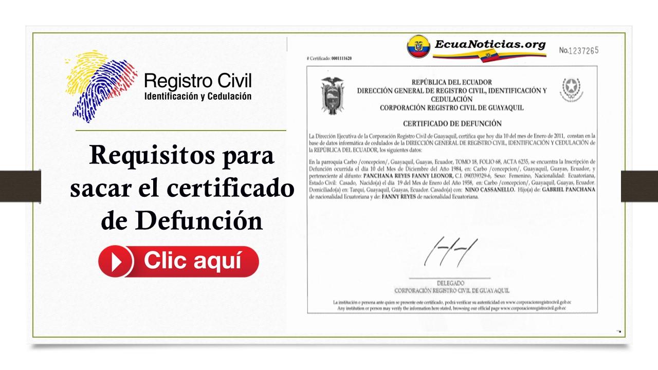 Requisitos para sacar el certificado de Defunción