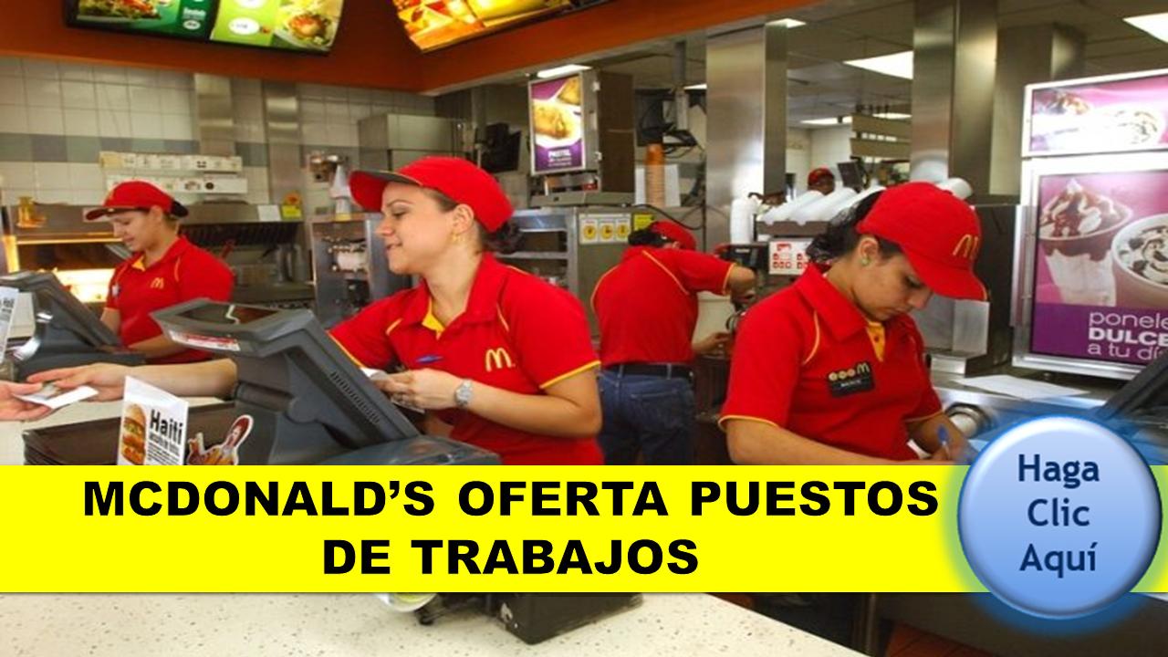 MCDONALD'S OFERTA PUESTOS DE TRABAJOS 8