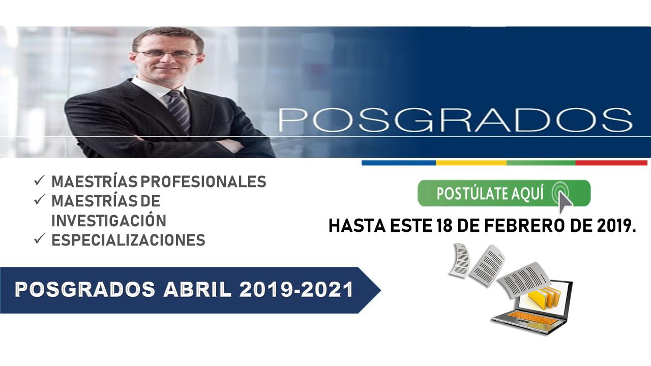 Postúlate en los Posgrados abril 2019-2021