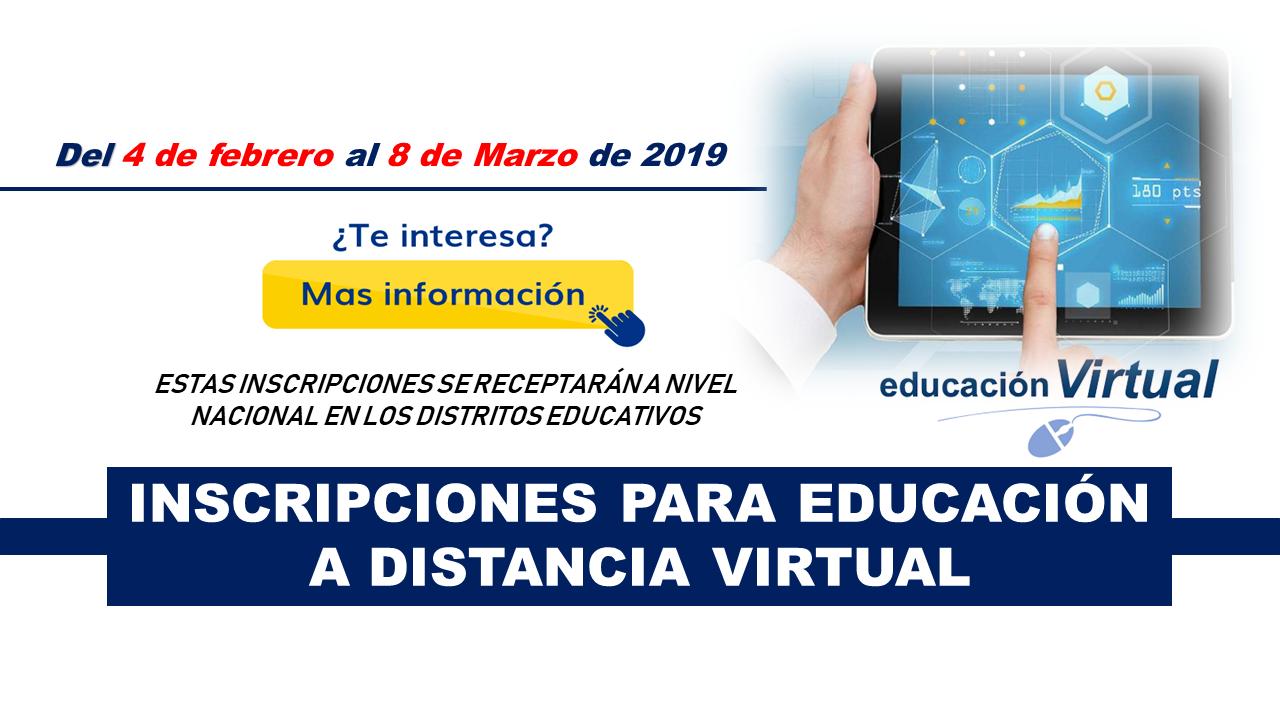 Inscripciones para educación a Distancia Virtual 2