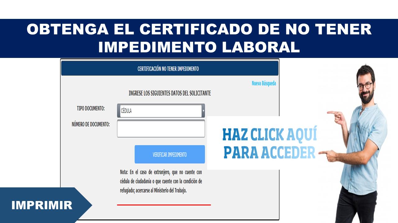 Obtenga el certificado de No tener impedimento laboral 1