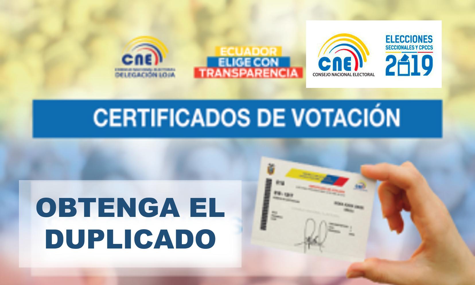 Obtención del duplicado del certificado de votación 1