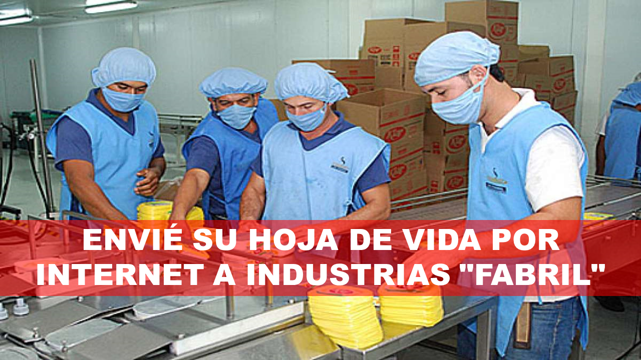 """ENVIÉ SU HOJA DE VIDA POR INTERNET A INDUSTRIAS """"FABRIL"""" 6"""