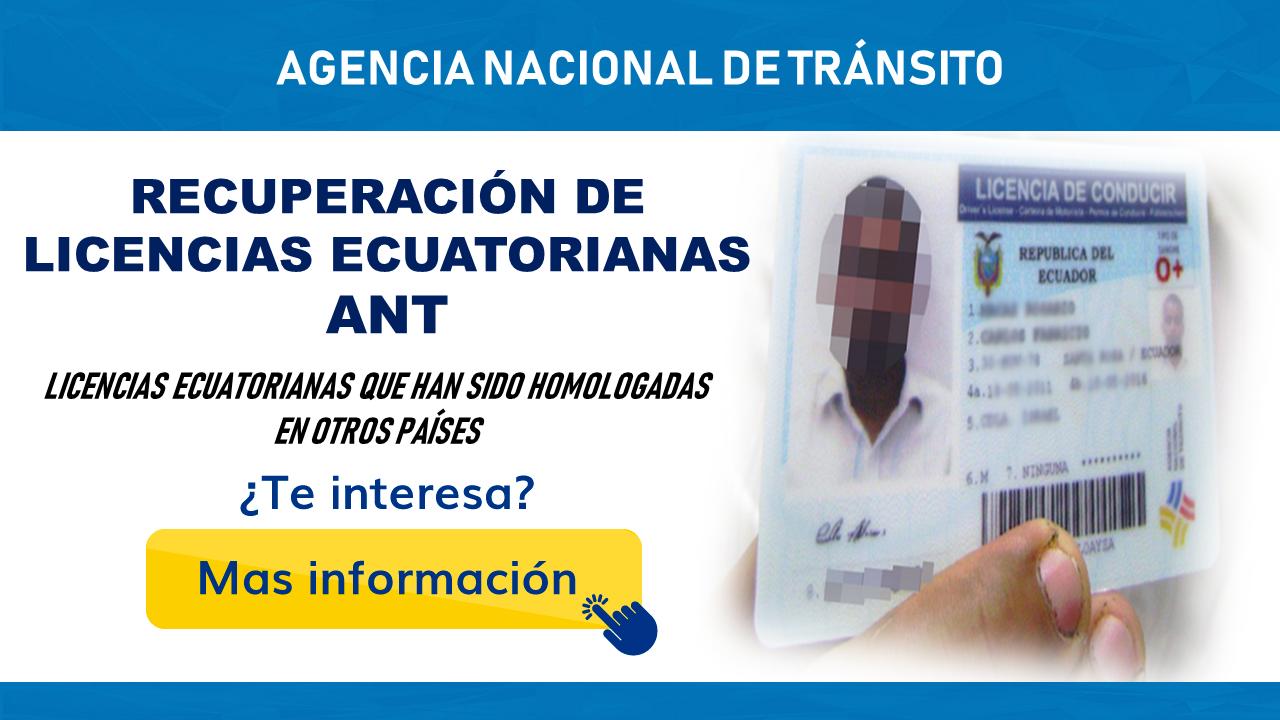 Recuperación de licencias ecuatorianas-ANT
