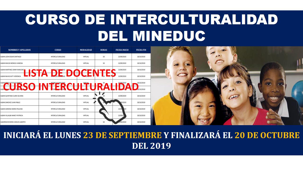 Curso de interculturalidad del Mineduc: Listado de docentes 1