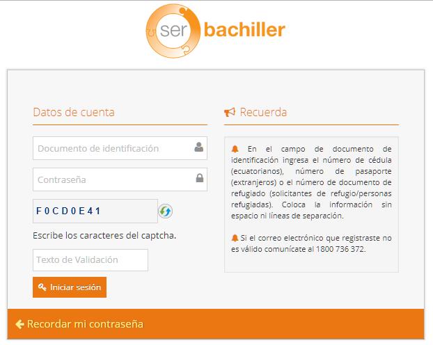 Inscripciones Ser Bachiller primer periodo 2020 1